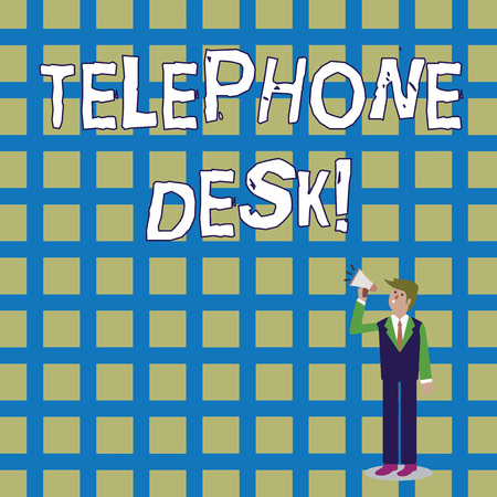 Word writing text Telephone Desk. Business photo showcasing provide a working surface enough to write notes while calling Businessman Looking Up, Holding and Talking on Megaphone with Volume Icon