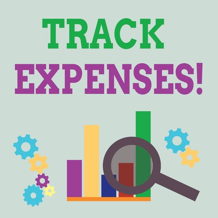 Word writing text Track Expenses. Business photo showcasing keep a close eye on how things are tracking to budget Magnifying Glass Over Bar Column Chart beside Cog Wheel Gears for Analysis