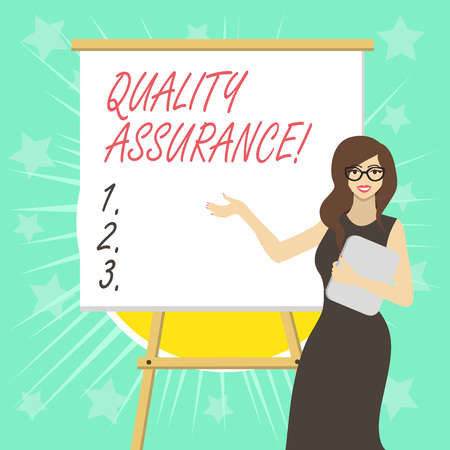 Text sign showing Quality Assurance. Business photo text preventing mistakes and defects in analysisufactured products