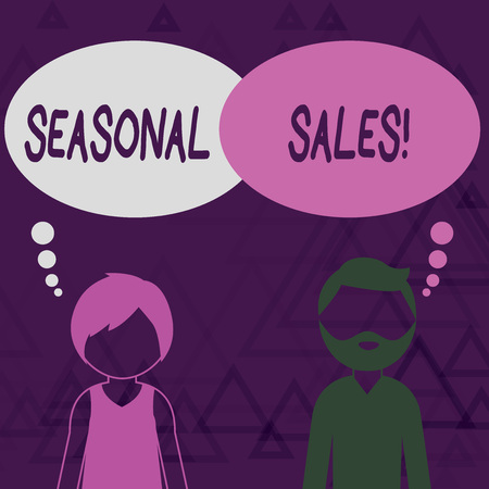 Writing note showing Seasonal Sales. Business concept for Discount which is offered on goods at particular seasons Bearded Man and Woman with the Blank Colorful Thought Bubble