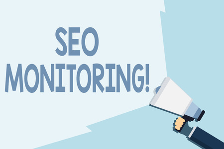 Writing note showing Seo Monitoring. Business concept for the process of optimizing the visibility of your website Hand Holding Megaphone with Beam Extending the Volume Range