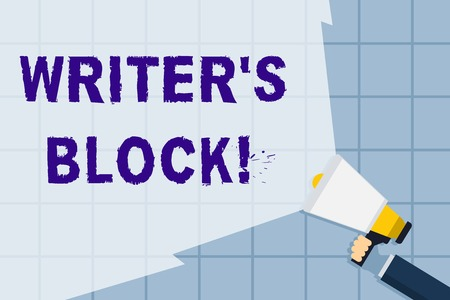 Conceptual hand writing showing Writer S Is Block. Concept meaning condition of being unable to make a piece of written work Hand Holding Megaphone with Beam Extending the Volume Range