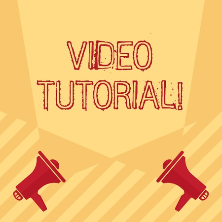 Handwriting text writing Video Tutorial. Conceptual photo method of transferring knowledge through audiovisual clips Blank Double Spotlight Crisscrossing Upward from Two Megaphones on the Floor Stock fotó