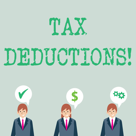 Word writing text Tax Deductions. Business photo showcasing amount or cost that can be subtracted from someone s is income Businessmen Each has their Own Speech Bubble with Optimization Cost Icons