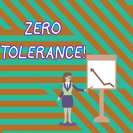 Word writing text Zero Tolerance. Business photo showcasing refusal to accept antisocial behaviour or improper behaviour Businesswoman Holding Stick Pointing to Chart of Arrow Upward on Whiteboard