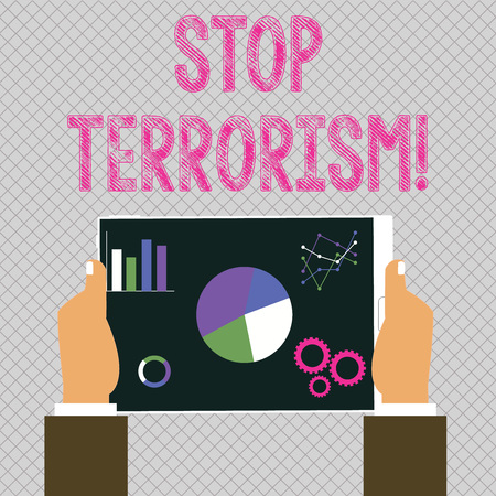 Conceptual hand writing showing Stop Terrorism. Concept meaning Resolving the outstanding issues related to violence Hands Holding Tablet with Search Engine Optimization Screen Banque d'images