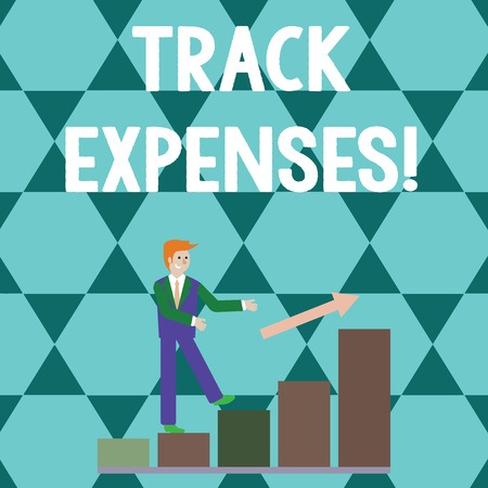 Word writing text Track Expenses. Business photo showcasing keep a close eye on how things are tracking to budget Smiling Businessman Climbing Bar Chart Following an Arrow Going Up