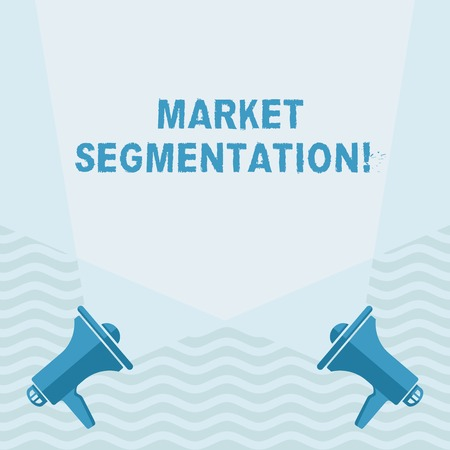 Handwriting text writing Market Segmentation. Conceptual photo dividing a market of potential customers into groups Blank Double Spotlight Crisscrossing Upward from Two Megaphones on the Floor