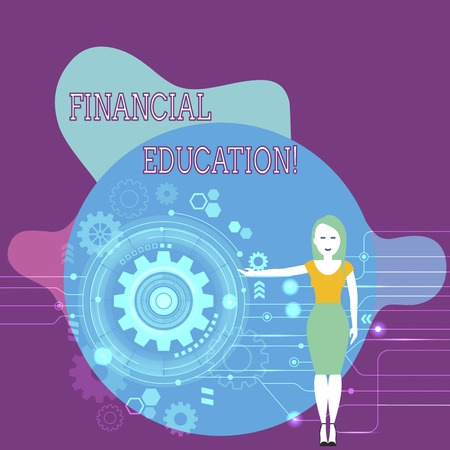 Text sign showing Financial Education. Business photo text education and understanding of various financial areas Woman Standing and Presenting the SEO Process with Cog Wheel Gear inside