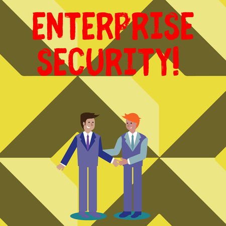 Conceptual hand writing showing Enterprise Security. Concept meaning decreasing the risk of unauthorized access to data Businessmen Smiling and Greeting each other by Handshaking