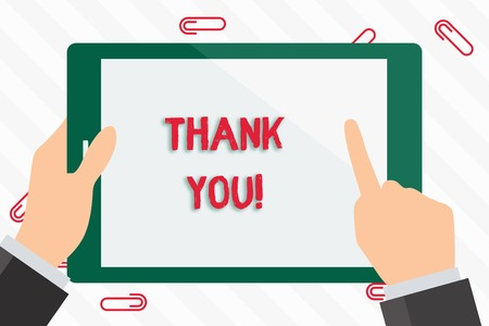 Text sign showing Thank You. Business photo showcasing polite expression used when acknowledging gift service compliment Businessman Hand Holding, Pointing and Touching Colorful Tablet Blank Screen Stock Photo