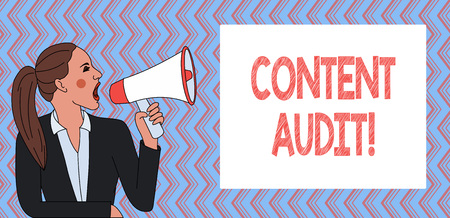 Writing note showing Content Audit. Business concept for process of evaluating content elements and information Stock Photo