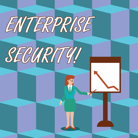 Handwriting text Enterprise Security. Conceptual photo decreasing the risk of unauthorized access to data Businesswoman Holding Stick Pointing to Chart of Arrow Upward on Whiteboard