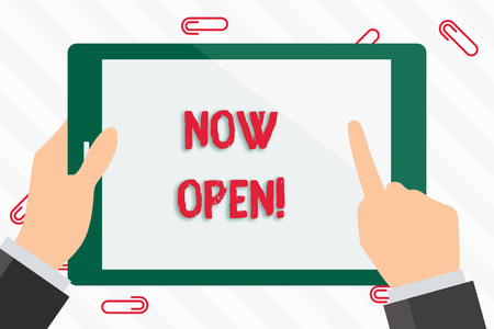 Text sign showing Now Open. Business photo showcasing leave door or windows not closed or barred at this current time Businessman Hand Holding, Pointing and Touching Colorful Tablet Blank Screen