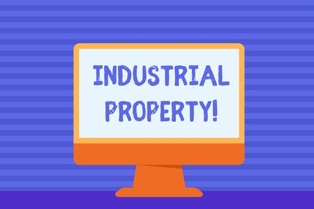 Conceptual hand writing showing Industrial Property. Concept meaning the intangible ownership of a trademark or patent Blank Desktop Computer Colorful Screen Freestanding on Table