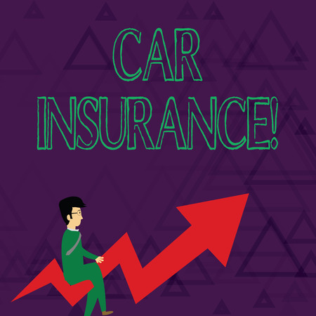 Writing note showing Car Insurance. Business concept for protection against financial loss in the event of an accident Businessman with Eyeglasses Riding Crooked Arrow Pointing Up Stock Photo