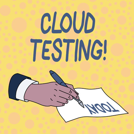 Handwriting text Cloud Testing. Conceptual photo is the assessment of a Web application s is perforanalysisce