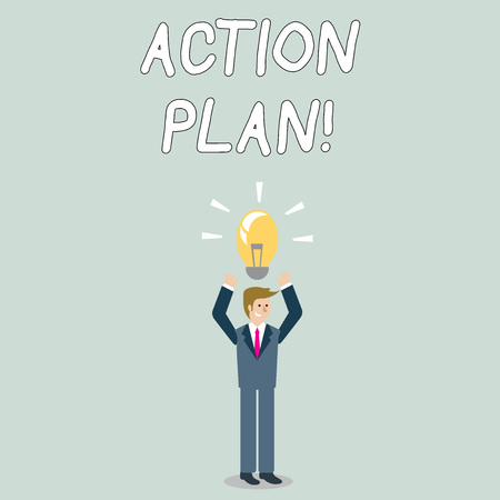 Word writing text Action Plan. Business photo showcasing proposed strategy or course of actions for certain time Businessman Standing Raising Arms Upward with Lighted Bulb Icon on his Head Reklamní fotografie