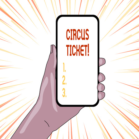 Text sign showing Circus Ticket. Business photo showcasing card that gives the holder a certain right to enter the circus
