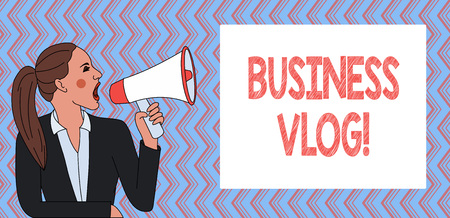 Writing note showing Business Vlog. Business concept for A video content about subject matter related to the company
