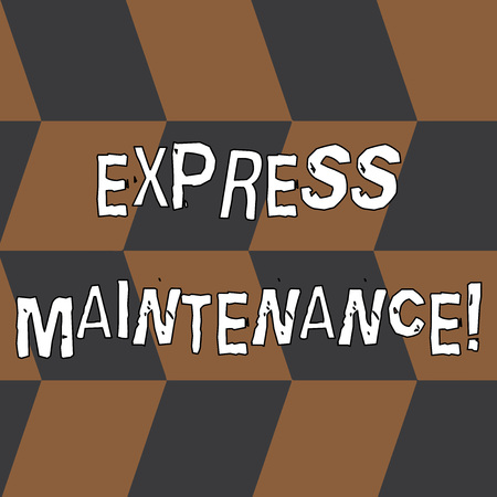 Word writing text Express Maintenance. Business photo showcasing damage is immediately debited to repairs and maintenance Seamless Slanting Squares in Brown and Gray Alternate Color Creating Depth