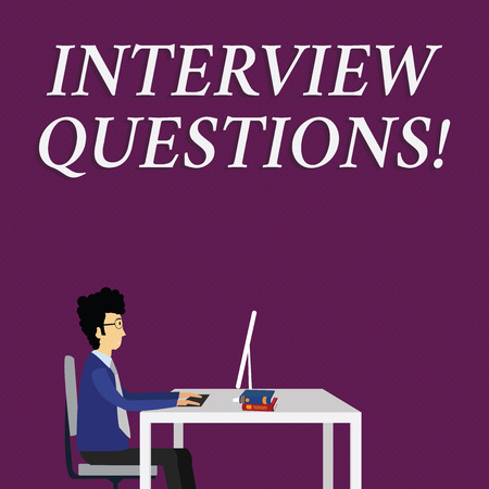 Writing note showing Interview Questions. Business concept for Typical topic being ask or inquire during an interview Businessman Sitting on Chair Working on Computer and Books