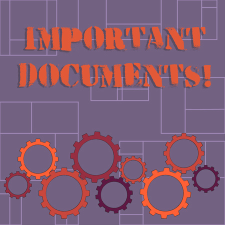 Text sign showing Important Documents. Business photo showcasing more official pieces of paper with writing on them Colorful Cog Wheel Gear Engaging, Interlocking and Tesselating Flat Style