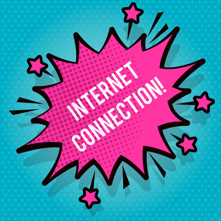 Text sign showing Internet Connection. Business photo text The way one gains access or connection to the Internet Spiky Blank Fight and Screaming Angry Speech Bubble with Thick Dark Outline