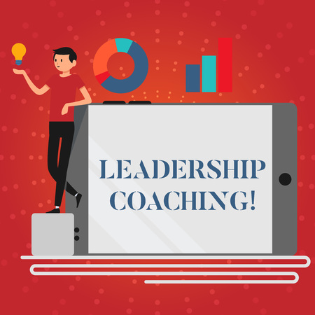 Writing note showing Leadership Coaching. Business concept for individualized process that builds a leader s is capability Man Leaning on Smartphone Turned on Side Graph and Idea Icon