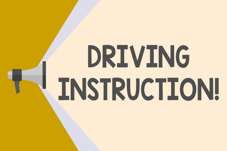 Writing note showing Driving Instruction. Business concept for detailed information on how driving should be done Megaphone Extending the Volume Range through Space Wide Beam