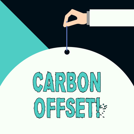 Writing note showing Carbon Offset. Business concept for Reduction in emissions of carbon dioxide or other gases