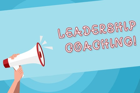 Text sign showing Leadership Coaching. Business photo text individualized process that builds a leader s is capability Human Hand Holding Tightly a Megaphone with Sound Icon and Blank Text Space