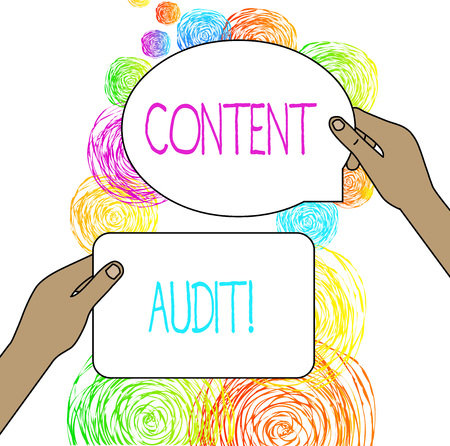 Conceptual hand writing showing Content Audit. Concept meaning process of evaluating content elements and information