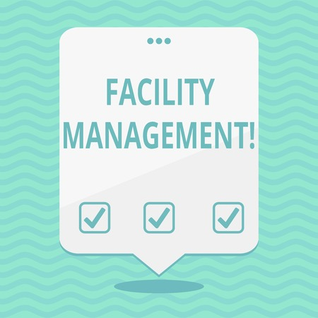 Text sign showing Facility Management. Business photo showcasing maintenance of an organization s is buildings and equipment Blank Space White Speech Balloon Floating with Three Punched Holes on Top