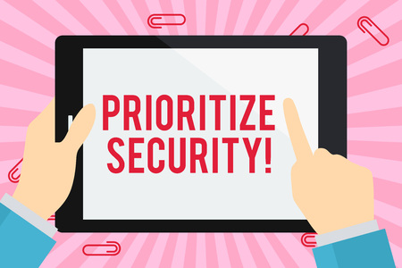 Word writing text Prioritize Security. Business photo showcasing designate security risk as more important to solve Businessman Hand Holding, Pointing and Touching Colorful Tablet Blank Screen Фото со стока