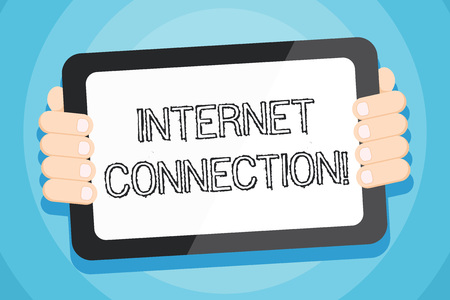 Text sign showing Internet Connection. Business photo showcasing The way one gains access or connection to the Internet Color Tablet Smartphone with Blank Screen Handheld from the Back of Gadget Reklamní fotografie