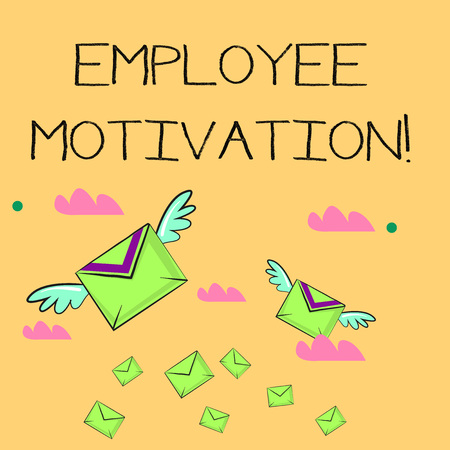 Word writing text Employee Motivation. Business photo showcasing Energy that a company s is workers bring to their jobs Many Colorful Airmail Flying Letter Envelopes and Two of Them with Wings