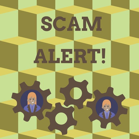 Word writing text Scam Alert. Business photo showcasing fraudulently obtain money from victim by persuading him Two Business People Each Inside Colorful Cog Wheel Gears for Teamwork Event