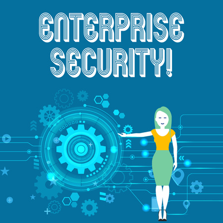 Text sign showing Enterprise Security. Business photo showcasing decreasing the risk of unauthorized access to data Woman Standing and Presenting the SEO Process with Cog Wheel Gear inside
