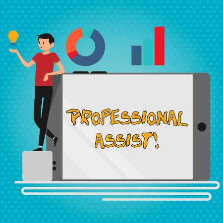 Text sign showing Professional Assist. Business photo showcasing help a professional doing some expert task or duty Man Leaning on Blank Smartphone Turned on Its Side with Graph and Idea Icon Banco de Imagens