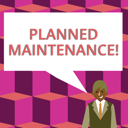 Text sign showing Planned Maintenance. Business photo text reventive maintenance carried out base on a fixed plan Businessman Smiling and Talking with Blank Rectangular Color Speech Bubble