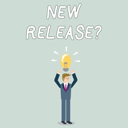 Word writing text New Release Question. Business photo showcasing asking about recent product or service newly unleashed Businessman Standing Raising Arms Upward with Lighted Bulb Icon on his Head