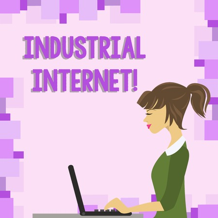 Word writing text Industrial Internet. Business photo showcasing use of the internet of things in industrial sectors photo of Young Busy Woman Sitting Side View and Working on her Laptop Standard-Bild