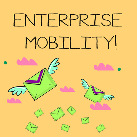 Word writing text Enterprise Mobility. Business photo showcasing Employees do jobs remotely using a mobile devices Many Colorful Airmail Flying Letter Envelopes and Two of Them with Wings