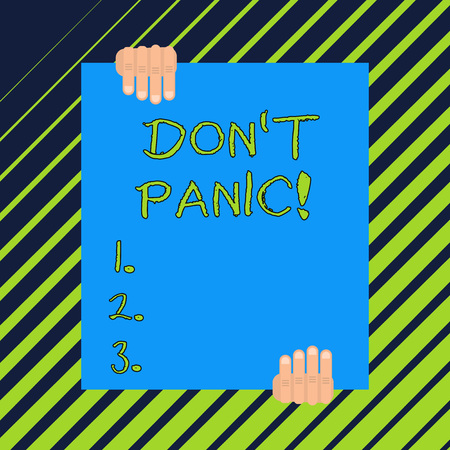 Word writing text Don T Panic. Business photo showcasing suddenly feel so worried or frightened that you can not behave Banco de Imagens