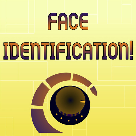 Handwriting text Face Identification. Conceptual photo analyzing patterns based on the demonstrating s is facial contours Volume Control Metal Knob with Marker Line and Colorful Loudness Indicator