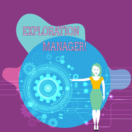 Text sign showing Exploration Manager. Business photo text lead and operate the mining company s is exploration Woman Standing and Presenting the SEO Process with Cog Wheel Gear inside