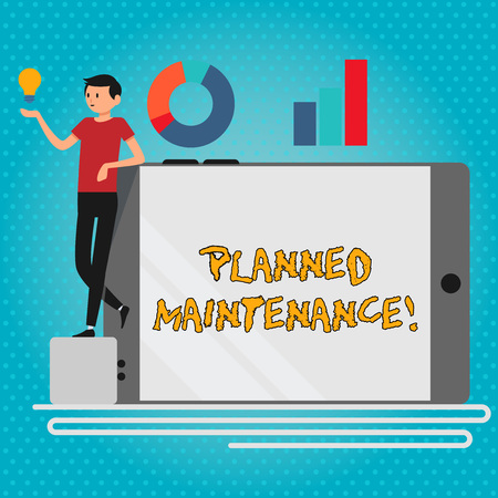 Text sign showing Planned Maintenance. Business photo showcasing reventive maintenance carried out base on a fixed plan Man Leaning on Blank Smartphone Turned on Its Side with Graph and Idea Icon