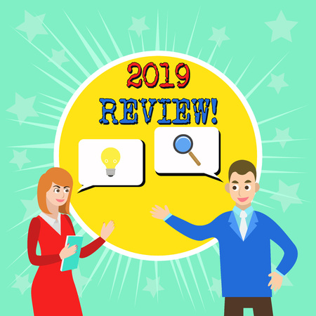 Writing note showing 2019 Review. Business concept for remembering past year events main actions or good shows