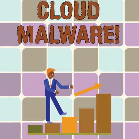Handwriting text writing Cloud Malware. Conceptual photo malicious software file or program harmful to a computer Smiling Businessman Climbing Colorful Bar Chart Following an Arrow Going Up Imagens